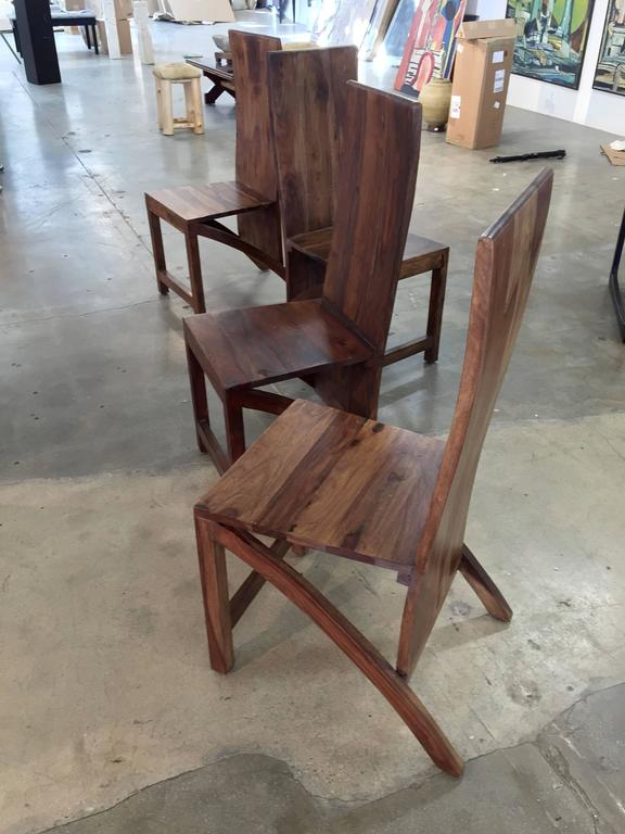 Exotic Wood Chairs ~ Set of four sculptural exotic wood handmade chairs for