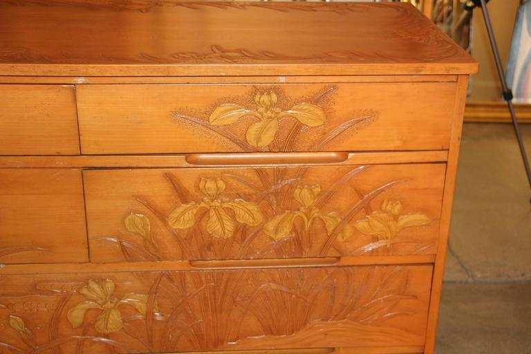 Most unusual carved maple japanese chest with floral motif