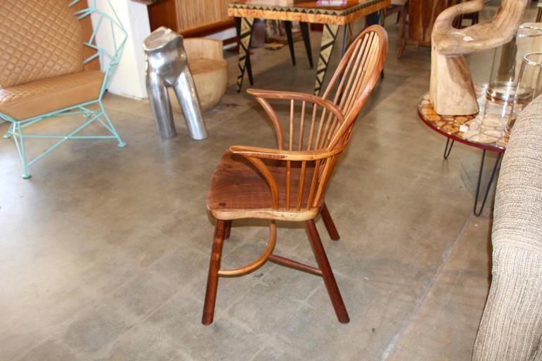 American Artisan Craft Made Black Walnut Windsor Chair Monogrammed For Sale