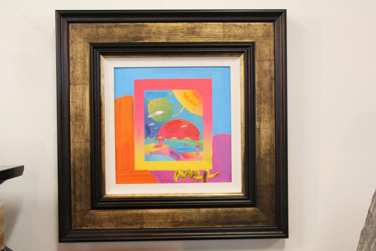 A unique mixed-media on canvas by the re known pop art artist Peter Max.