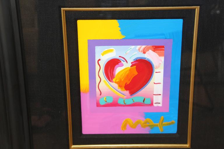 "American Peter Max ""Heart on Blends"" 2006 Mixed Media with Acrylic For Sale"