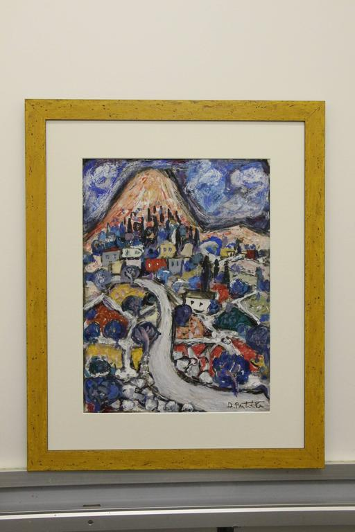 A quite lovely and colorful abstract mixed media on paper by the noted Croatian Artist Duro Politika (1922-2006). This work is signed on the front and on the back, please see the photo. This work has been re-framed and the framer copied the back and
