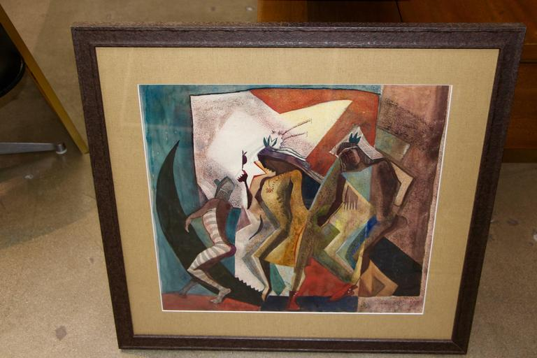 A cubist feeling Native American Indian themed mixed media painting on paper by the noted Southwest painter Lloyd Moylan (1893-1963). It has been re-framed and re-matted. It is marked Dancers on the back of the painting. A beautiful painting by a