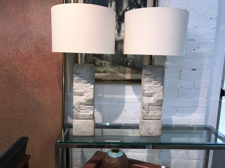 Pair of Fabulous Cast Stoneware Rock Shaped Lamps Marked Ap For Sale 5