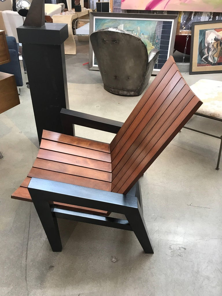 A unique prototype chair by the re-known architect and furniture designer Rob Edley Welborn. This chair never went into production and was built in his studio in New Mexico. It is surprisingly comfortable as well as being a sculptural beauty. It is