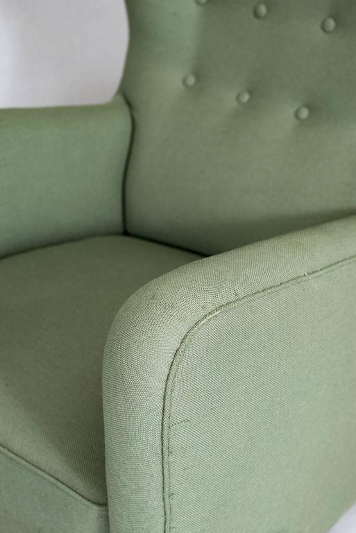Fabric Fritz Hansen High Back Lounge Chair For Sale