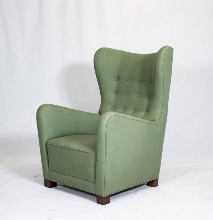 Scandinavian Modern Fritz Hansen High Back Lounge Chair For Sale
