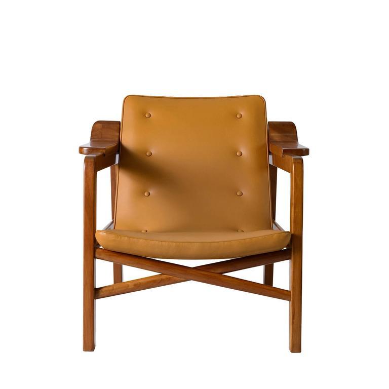 "Tove & Edvard Kindt Larsen ""Fireplace"" chair designed in 1939 and produced by Gustav Bertelsen."