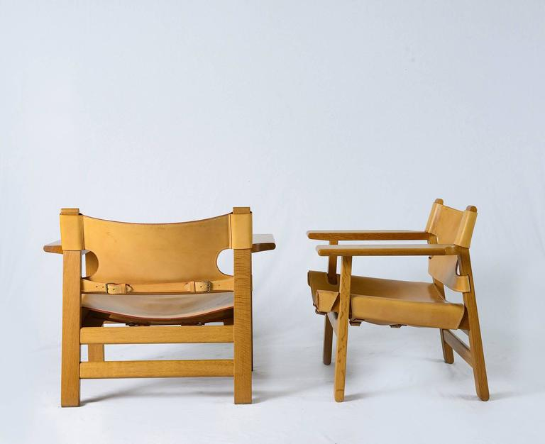 Pair Of Børge Mogensen U0026quot;Spanishu0026quot; Chairs Designed In 1958 And  Produced By Fredericia