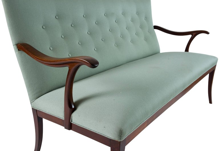 Fabric Frits Henningsen Settee For Sale