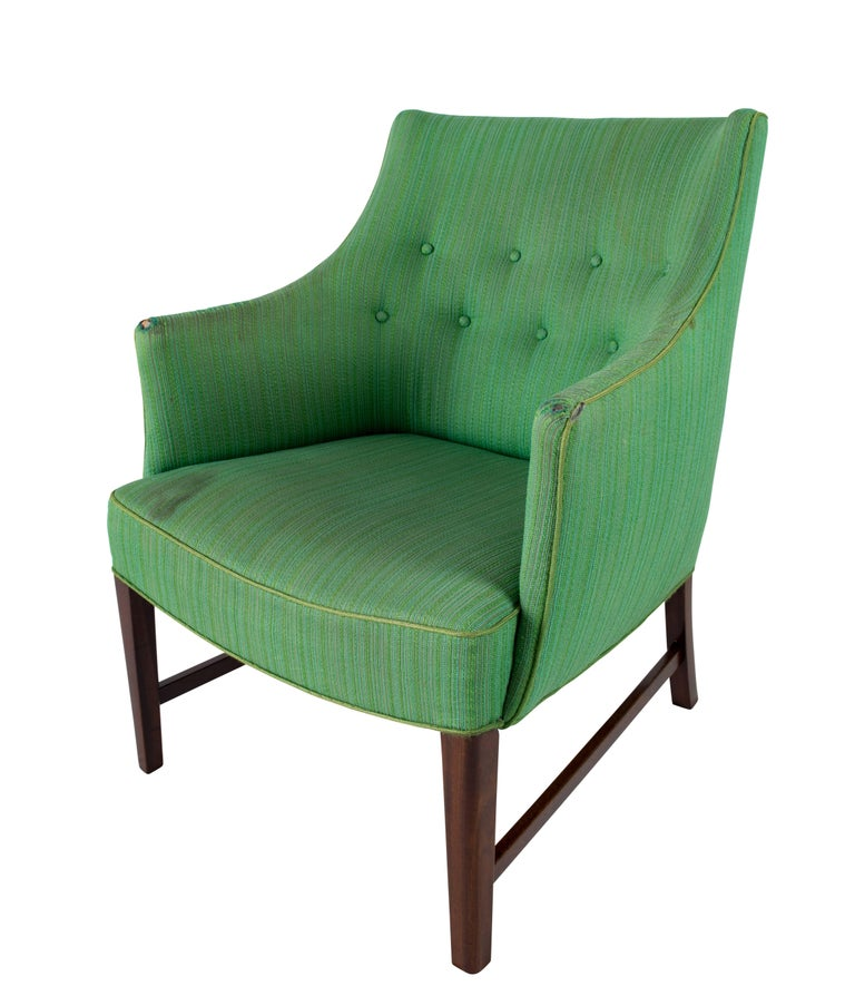 Fabric Frits Henningsen Lounge Chair For Sale