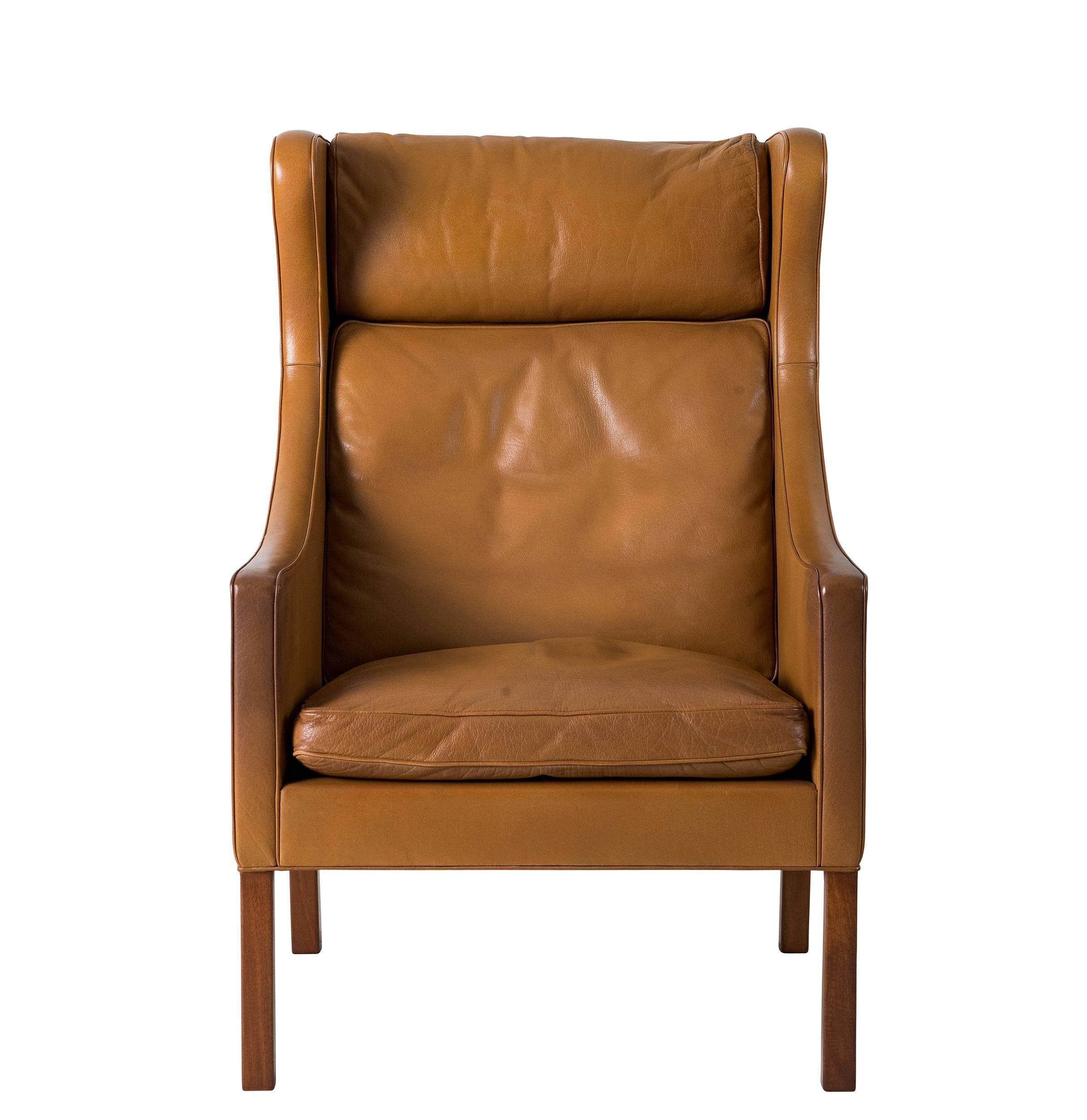 Børge Mogensen Leather Wingback Chair 3