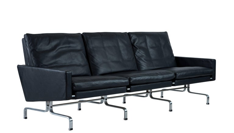 Poul Kjaerholm PK31 three-seat sofa designed in 1958 and produced by Fritz Hansen in 2007. We have another matching sofa available.