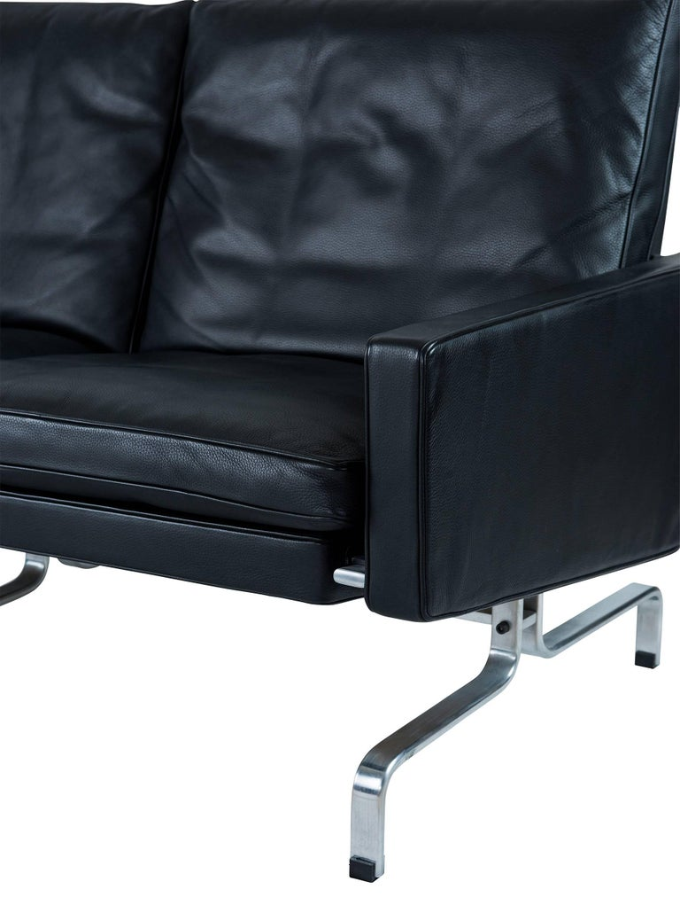 Stainless Steel Poul Kjaerholm PK31 Three-Seat Sofa by Fritz Hansen For Sale