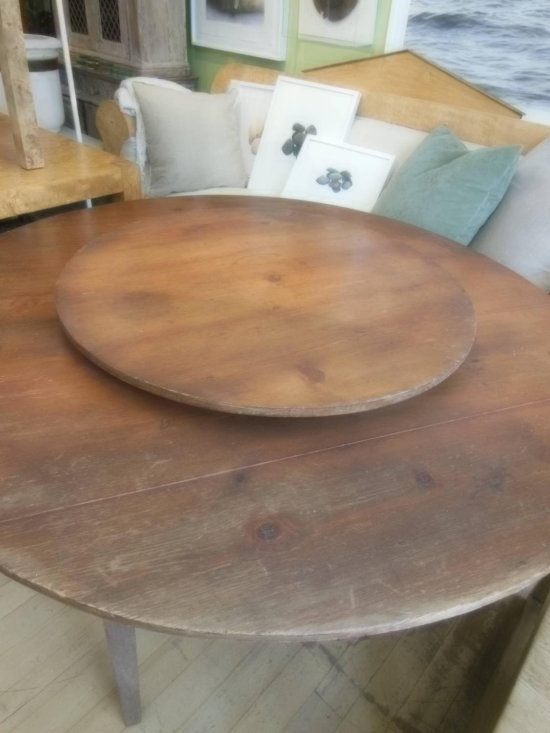Great Primitive Lazy Susan Table At 1stdibs