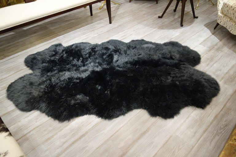 Modern New 6' x 4' Charcoal Gray Plush Sheepskin Rug, Five Available For Sale