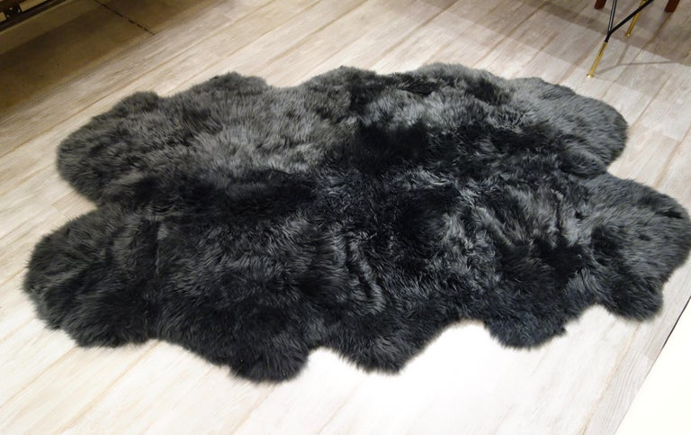 Unknown New 6' x 4' Charcoal Gray Plush Sheepskin Rug, Five Available For Sale