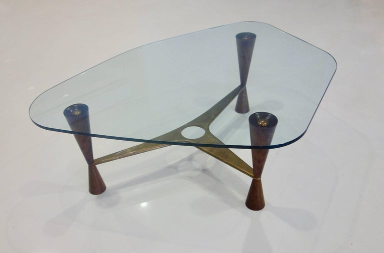 Dunbar Style Walnut, Brass and Glass Shaped Cocktail Table, Pair Available In Excellent Condition For Sale In New York, NY