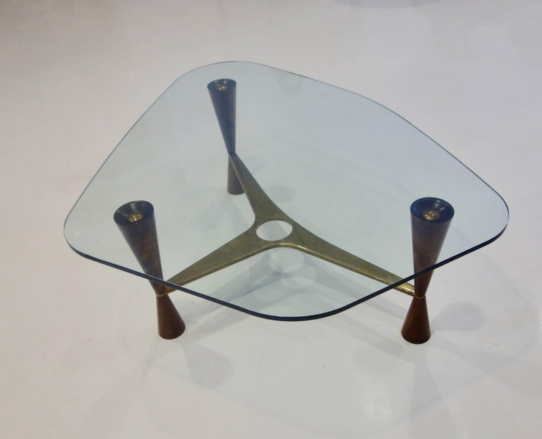 Mid-20th Century Dunbar Style Walnut, Brass and Glass Shaped Cocktail Table, Pair Available For Sale