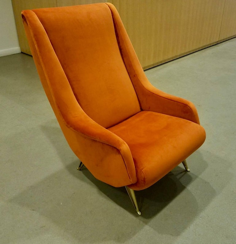 Mid-Century Modern Pair of Midcentury Italian Burnt Orange Tall Lounge Chairs Attributed to ISA For Sale
