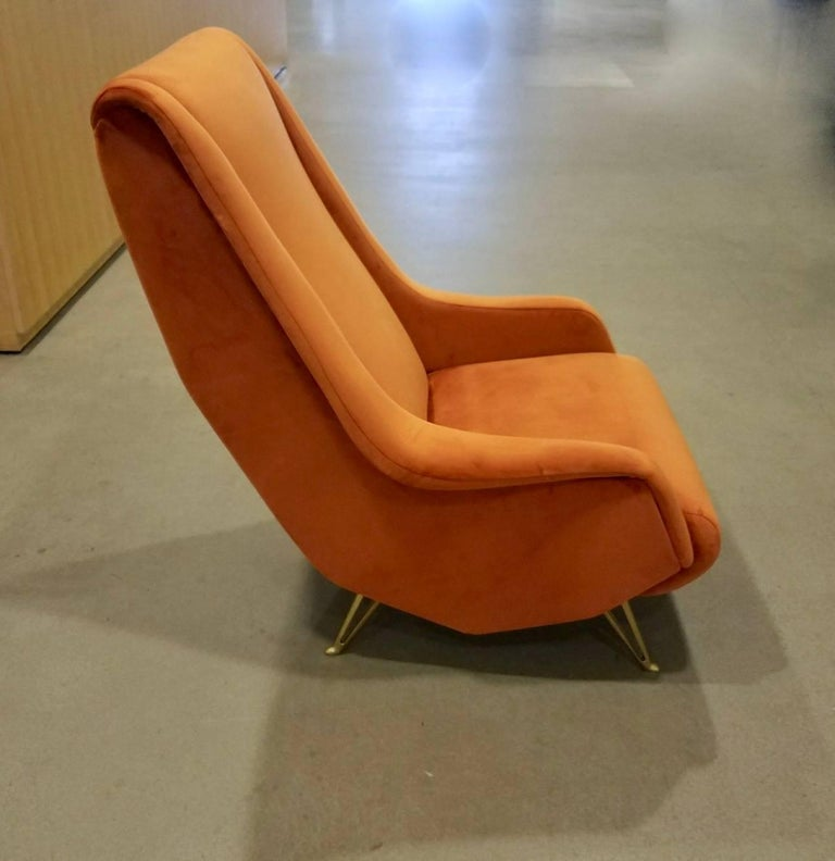 Pair of Midcentury Italian Burnt Orange Tall Lounge Chairs Attributed to ISA In Excellent Condition For Sale In New York, NY