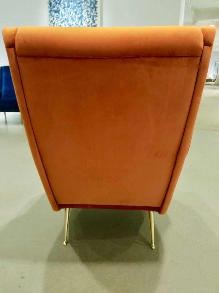 Mid-20th Century Pair of Midcentury Italian Burnt Orange Tall Lounge Chairs Attributed to ISA For Sale