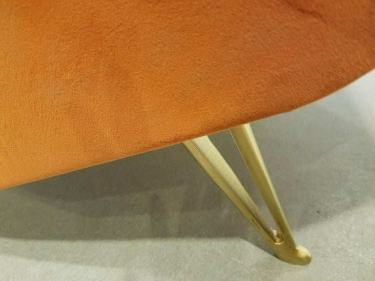Pair of Midcentury Italian Burnt Orange Tall Lounge Chairs Attributed to ISA For Sale 1