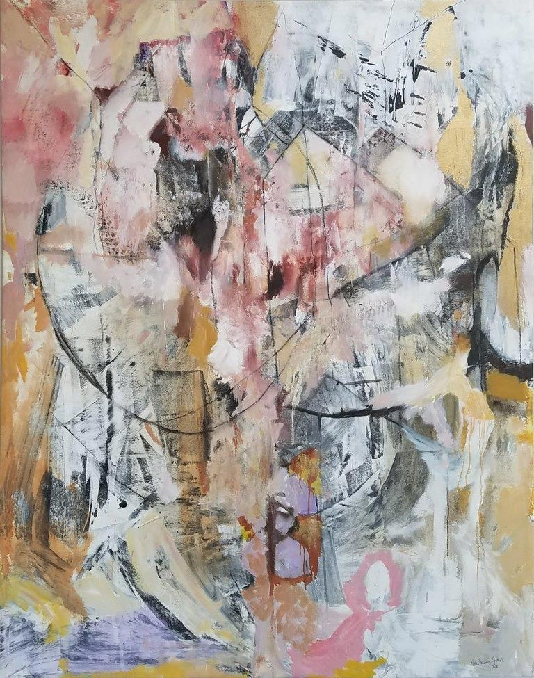Painted Large Framed Abstract Oil Painting,