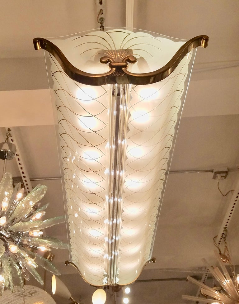 Large Rectangular French Art Deco White and Gold Glass and Brass Chandelier In Good Condition For Sale In New York, NY