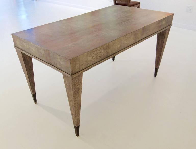 French Mid-Century Cerused Oak Writing Desk and Chair 3