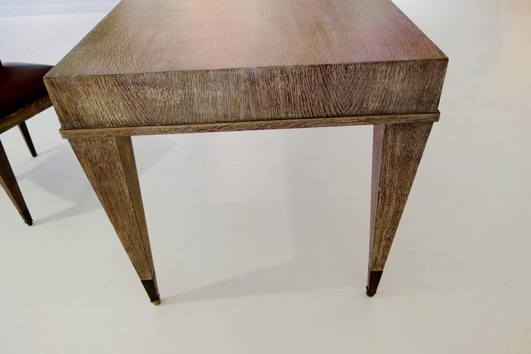 French Mid-Century Cerused Oak Writing Desk and Chair 5