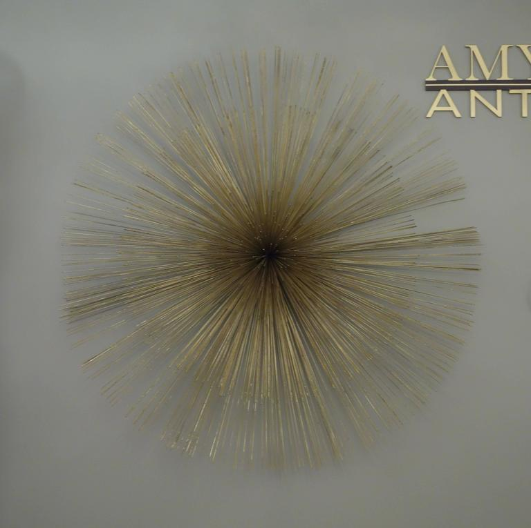 Signed Mid-Century Curtis Jere Brass Starburst Wall Sculpture In Good Condition For Sale In New York, NY