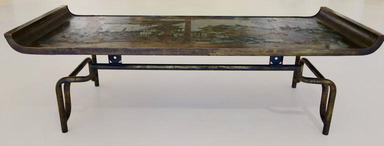 """Philip & Kelvin LaVerne Imperial Palace"""" Bronze and Pewter Cocktail Table  6"""