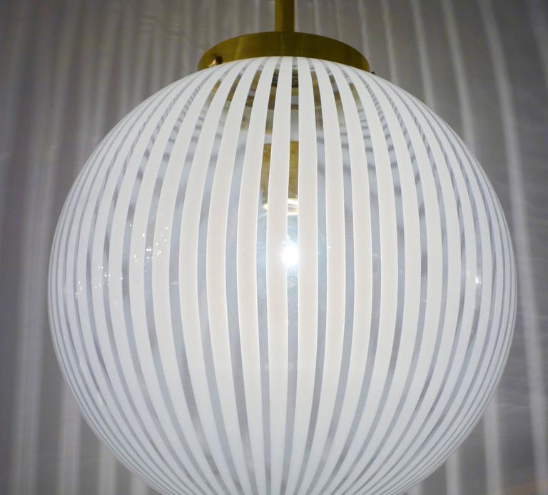 Italian Mid-Century Striped Murano Glass Globe or Chandelier 2