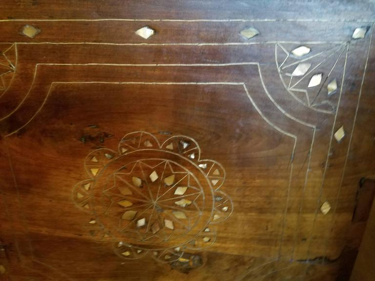 Large 19th Century Syrian Trunk with Mother-of-Pearl Inlay In Good Condition For Sale In New York, NY