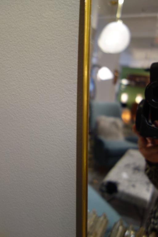 Vertical Mid-Century Italian Brass Shaped Mirror 2