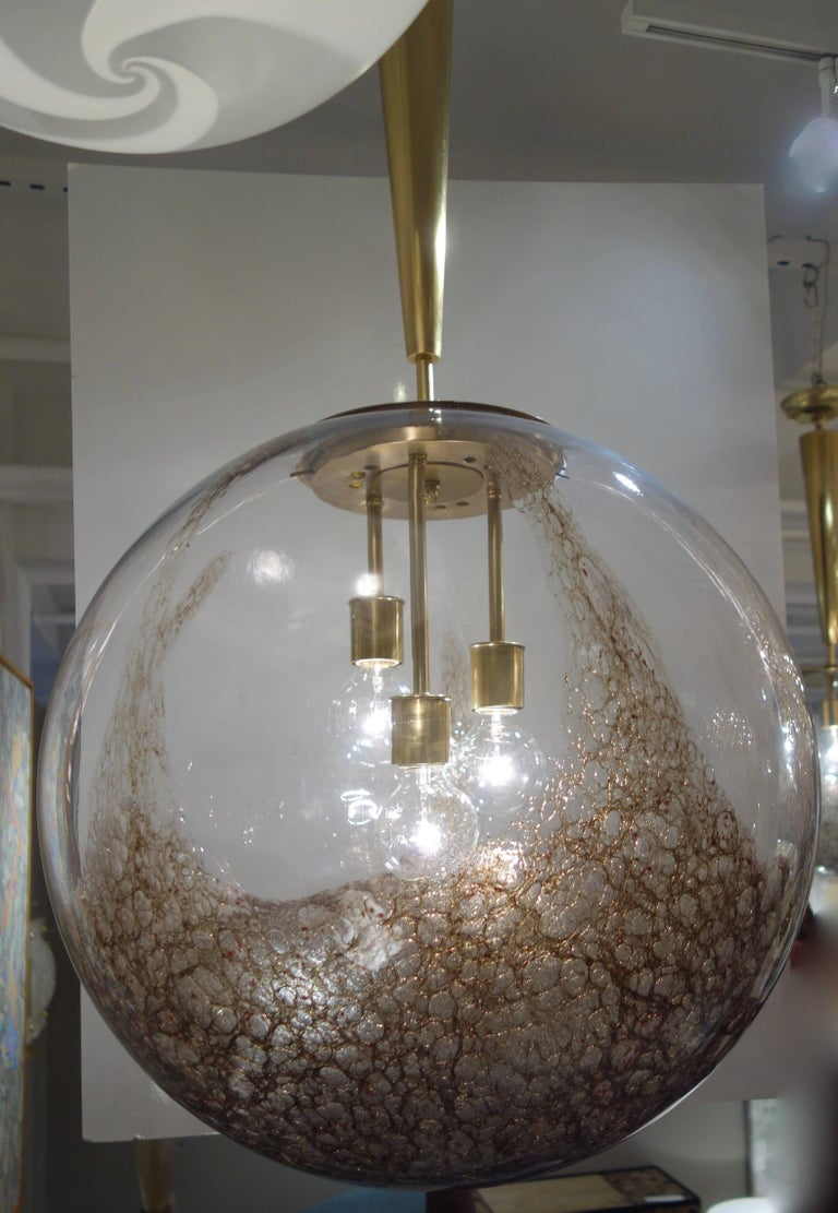 Mid-Century Modern Italian Mid-Century Oversized Murano Brown Mottled Globe or Chandelier For Sale
