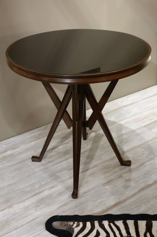 Pair of Cassina 1950s Italian Wood And Glass Circular Side or End Tables  In Excellent Condition For Sale In New York, NY