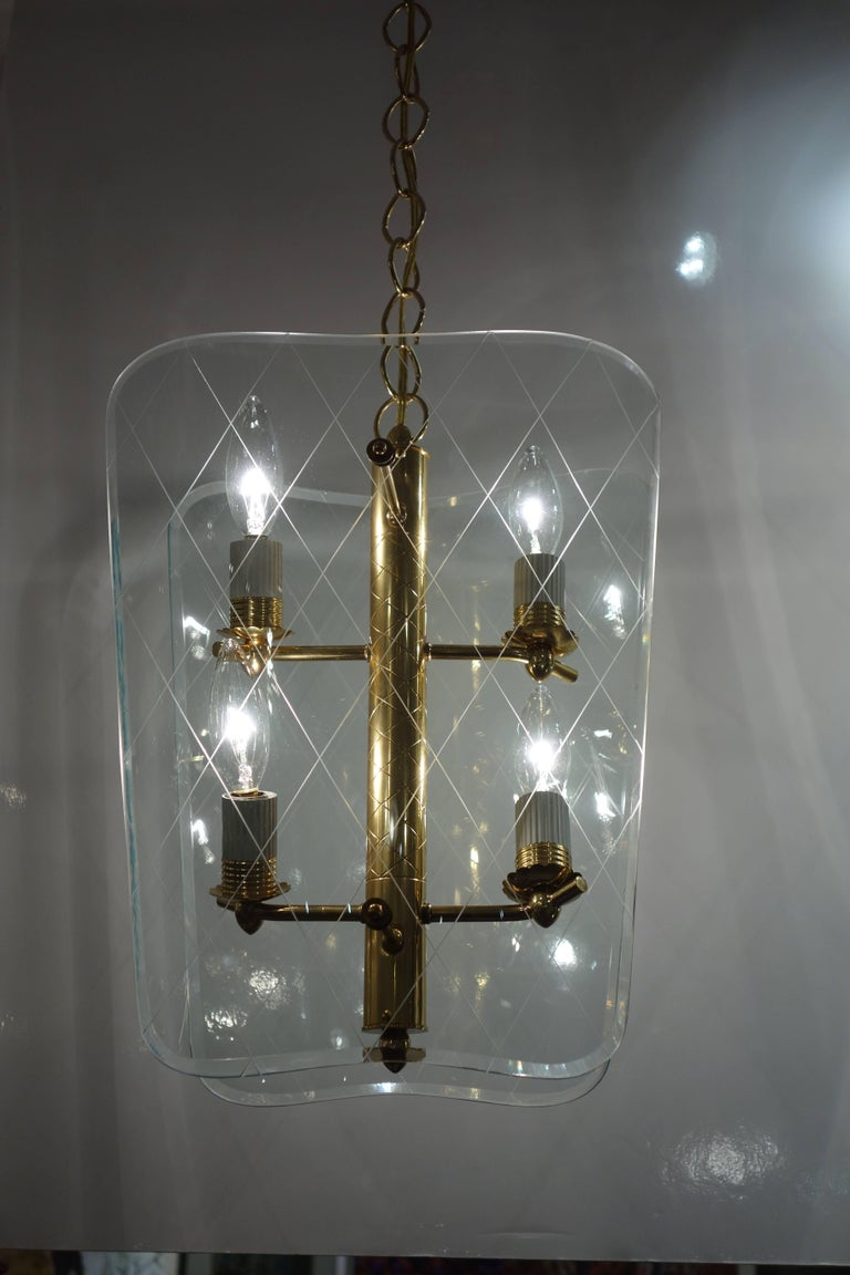 Pair of Vintage Glass and Brass Pietro Chiesa Style Lanterns or Chandeliers 2
