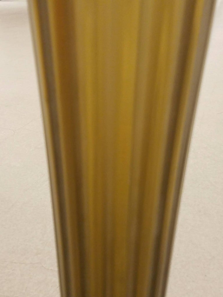Amber/Bronze Italian Murano Glass Fluted Circular Side Table with Brass Mounts 4
