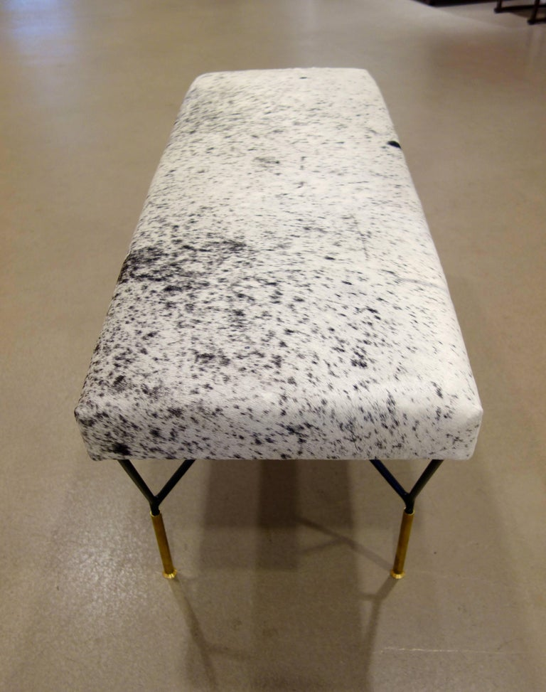 Italian Mid-Century Style Metal and Brass Bench in Black and White Cowhide 4