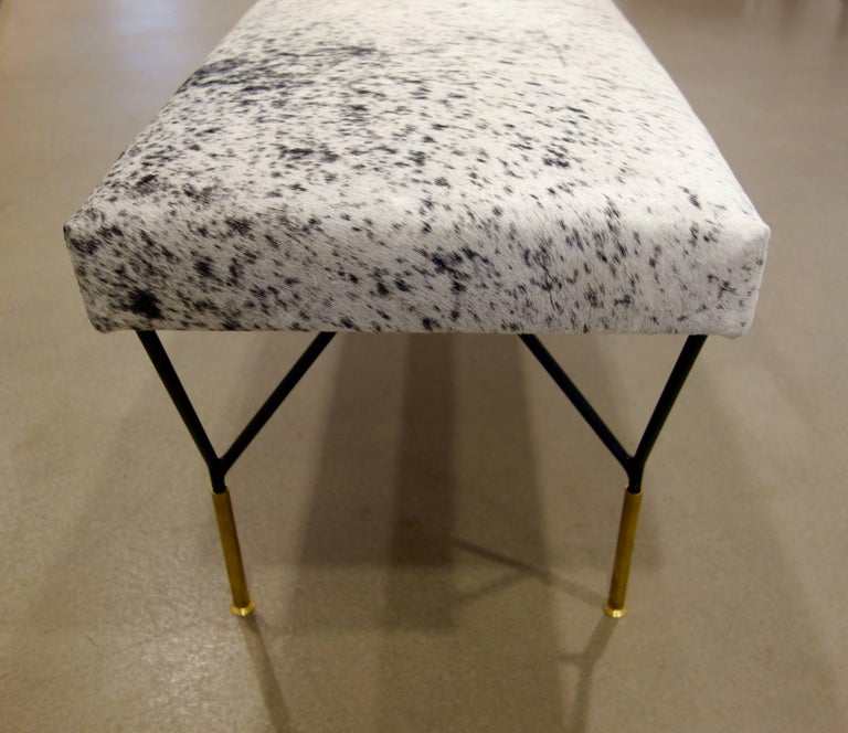 Italian Mid-Century Style Metal and Brass Bench in Black and White Cowhide 5