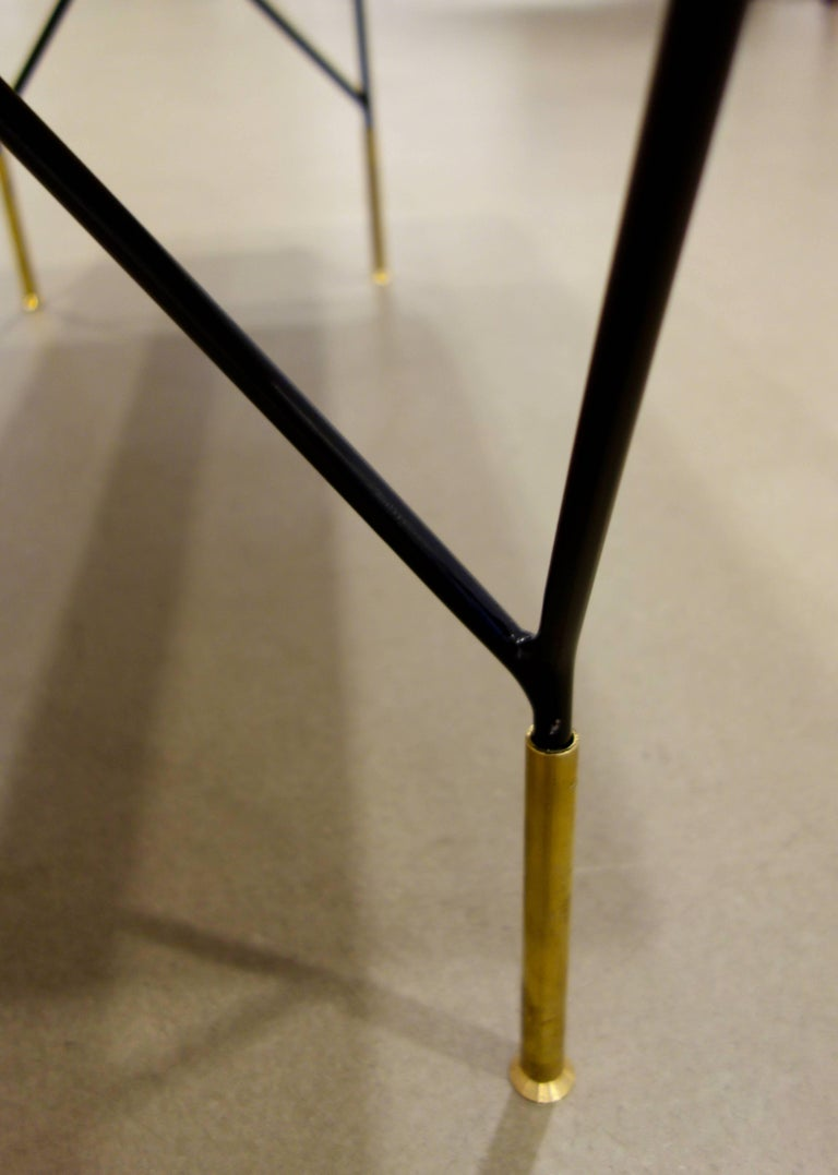 Italian Mid-Century Style Metal and Brass Bench in Black and White Cowhide 6