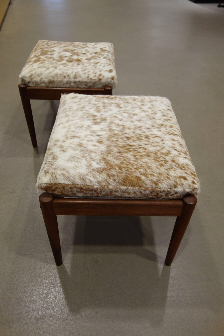 Pair Of Borge Jensen Danish Ottomans in Brown and White Cowhide 6