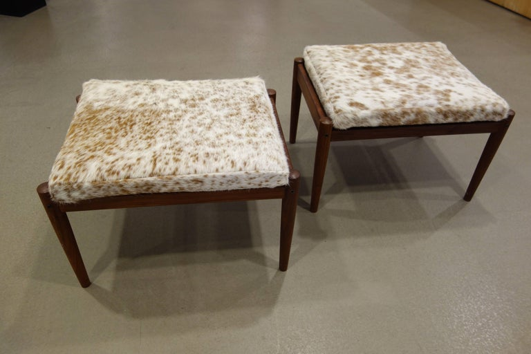 Pair Of Borge Jensen Danish Ottomans in Brown and White Cowhide 2