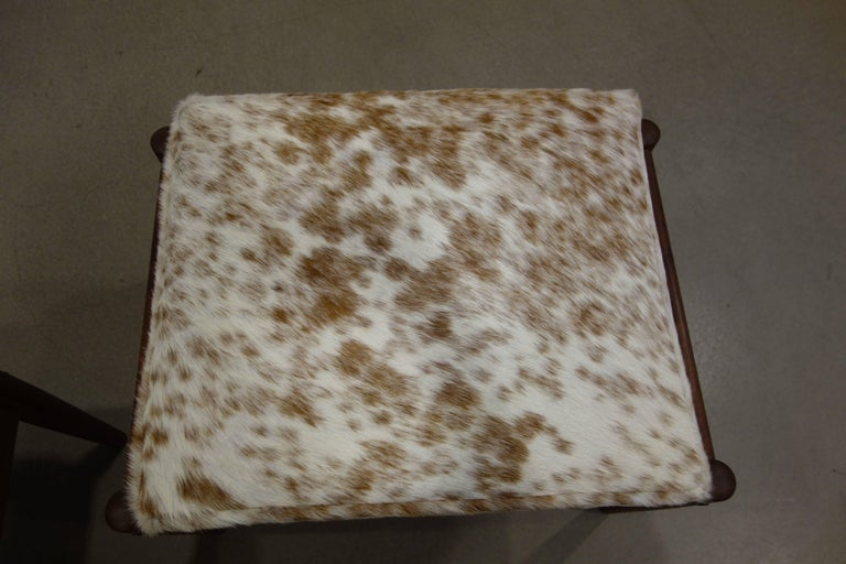 Pair Of Borge Jensen Danish Ottomans in Brown and White Cowhide 4