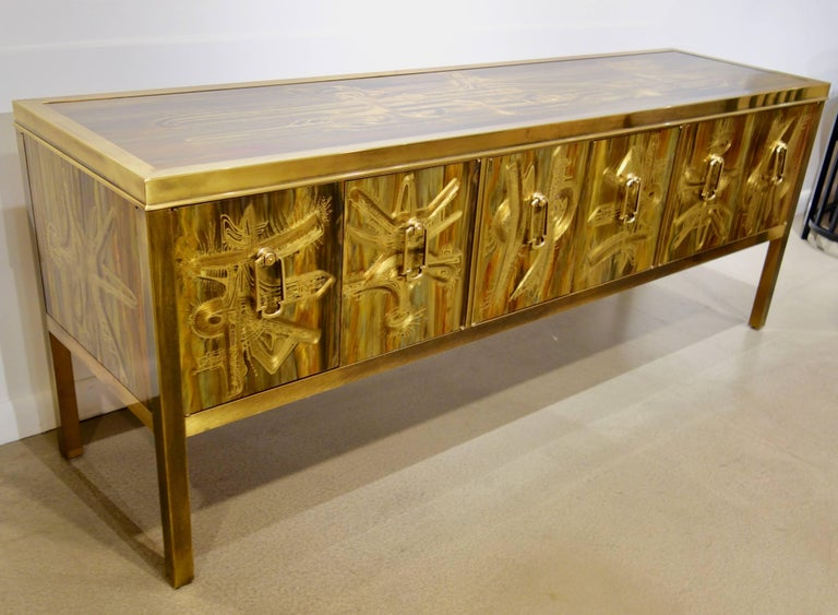 Mid-Century Modern Mastercraft Etched and Enameled Bronze Sideboard or Credenza by Bernhard Rohne For Sale