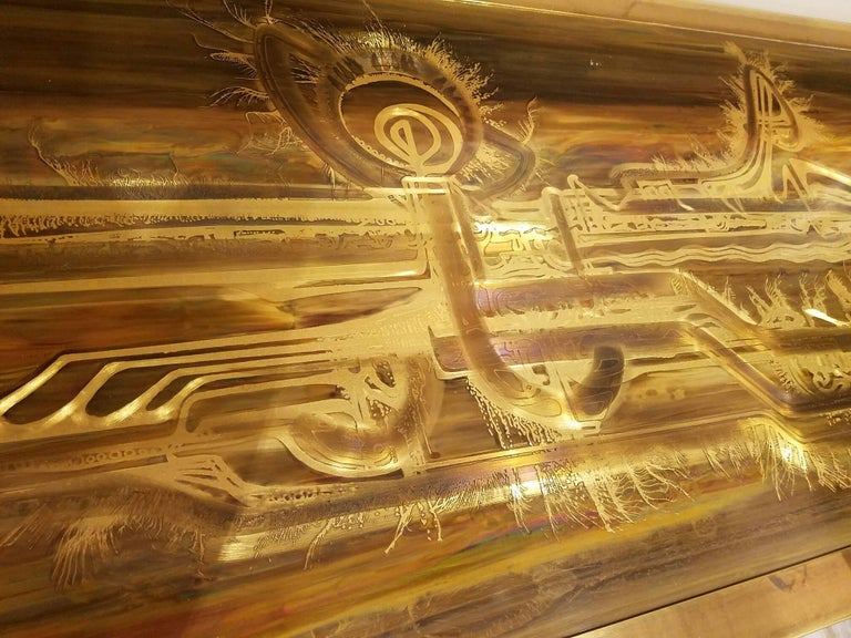 Mastercraft Etched and Enameled Bronze Sideboard or Credenza by Bernhard Rohne In Excellent Condition For Sale In New York, NY