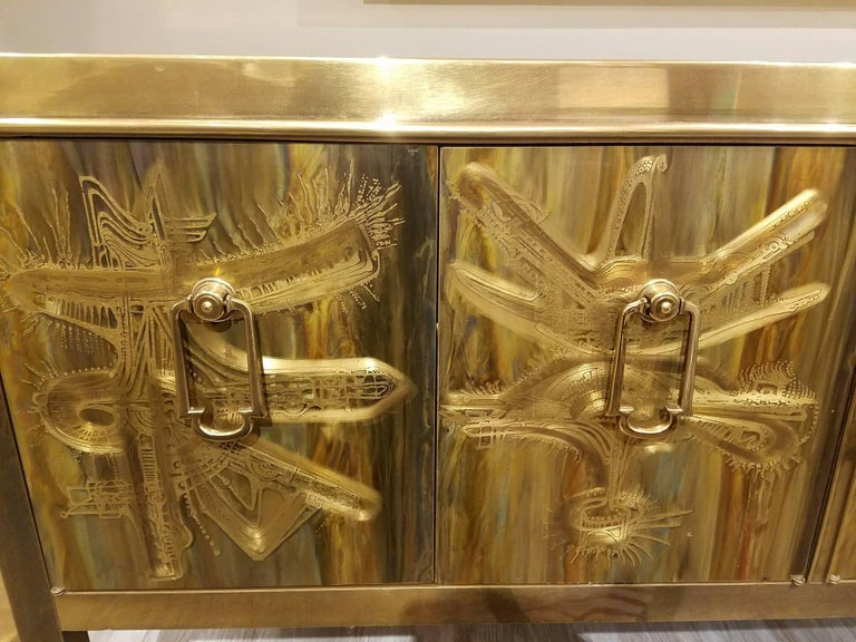 Mastercraft Etched and Enameled Bronze Sideboard or Credenza by Bernhard Rohne For Sale 1