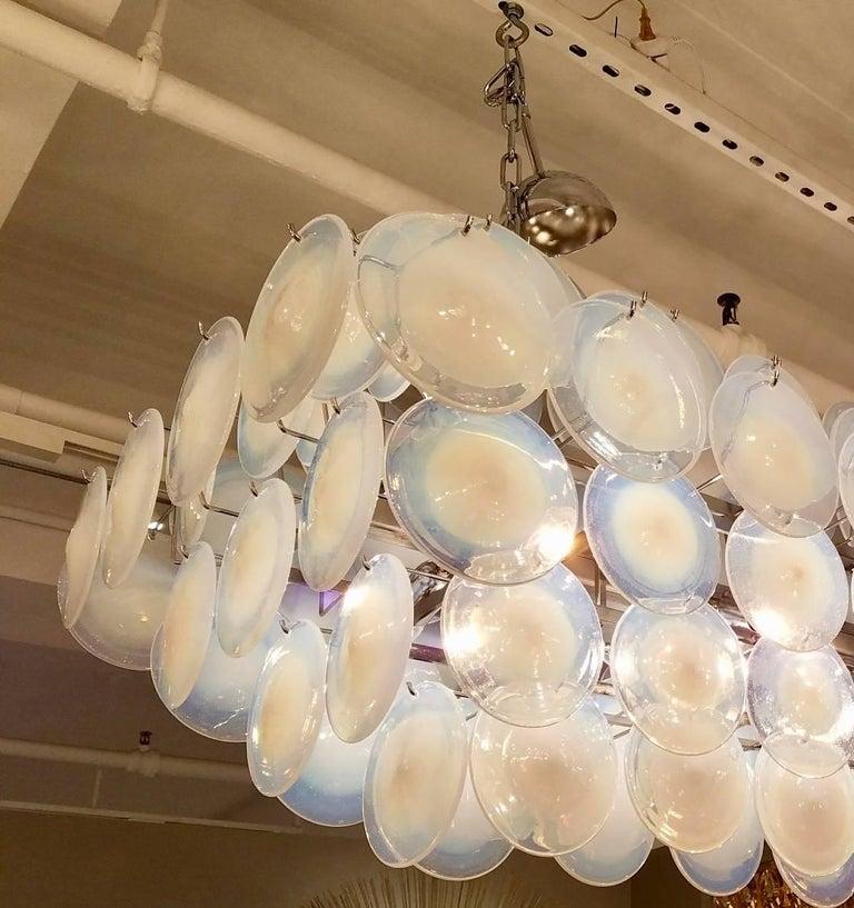 Italian Large Rectangular White Vistosi Murano Glass Disc Chandelier For Sale